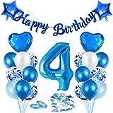 Globos de Cumpleãnos 4 Azul, 4er Cumpleaños Globos Niño, Feliz Cumpleaños Decoración Globos 4 Años, Confeti y Globos de Aluminio, Látex Globos Fiesta Party Decoración