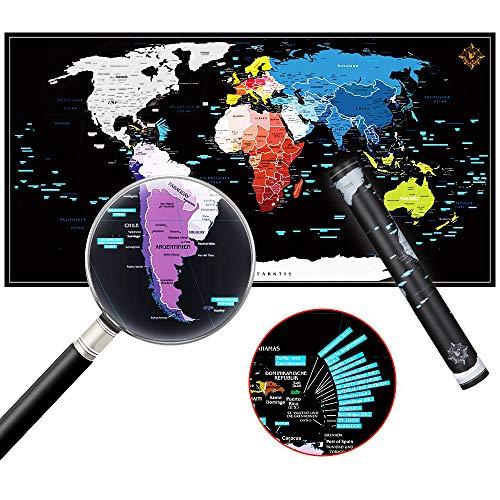 ZHIJING Weltkarte zum Rubbeln Rubbel Landkarte Poster Pinnwand zum Freirubbeln in Deutsch inkl. Geschenkverpackung 82*42cm Scrape Off World Map perfektes Geschenk für Reisende in schwarz/silber