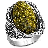 Silver Ice - Anello ovale in argento Sterling con ambra e Argento, 59.5 (19.0), colore: Grun, cod. 26441