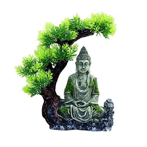 FLAMEER Decoraciones de peceras decoración de Acuario Accesorios de Ornamentos de tamaño Mediano Pieles de Peces Estatua Antigua de Buda Zen Adornos de - Un