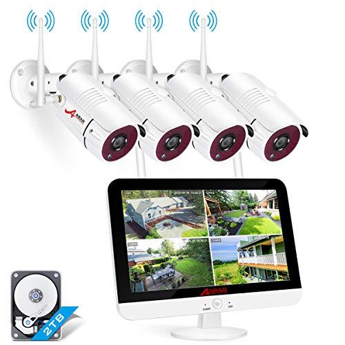 [Audio/Video Aufnahme] ANRAN 8CH Überwachungskamera Set WLAN mit 4X 1920P Funk Kamera 13 Zoll 5MP Ultra HD LCD Monitor Vorinstalliert 2TB Festplatte Überwachungssystem mit Nachtsicht Bewegungsmelder