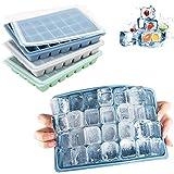 LessMo Eiswürfelform, 3 Stück Silikon Eiswürfelform mit Deckel Ice Cube Tray, Eiswürfelformen für Cocktail, Whisky, Babynahrung, BPA-frei, 28-Fach, Mehrfarbig
