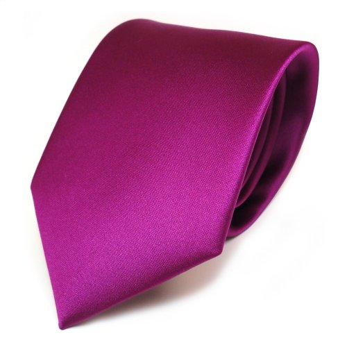 TigerTie Designer Satin Krawatte in violett magenta einfarbig uni