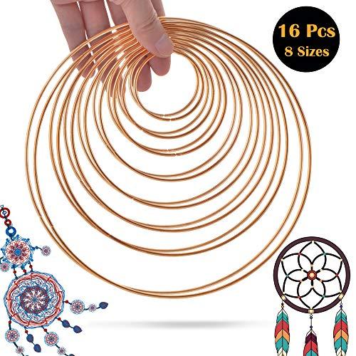 SOSMAR 16 Stück Traumfänger Ringe Metallringe Drahtringe DIY Handwerk Basteln, Rosa-Gold beschichtet, Durchmesser 5cm 6,5cm 8cm 10cm 12cm 14cm 16cm 19cm