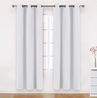 BYSURE Greyish White Blackout Curtains Wide 42 x 84 inches Long Room Darkening Curtains Drapes Thermal Insulated Grommet Curtains for Bedroom Curtains Set of 2 Panels