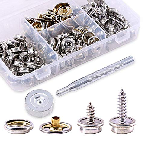 120Pieces Stainless Steel Marine Grade Canvas and Upholstery Boat Cover Snap Button Fastener Kit with 2Pcs Setting Tool - Silver