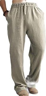 OTW Mens Casual Pants Elastic Waist Plus Size Linen Loose Pants