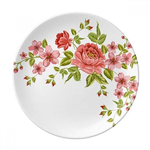 Rote Rosen Muster Blumen Pflanzen Deko Porzellan Dessertteller 20,3cm Abendessen Home Geschenk