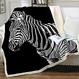 Sleepwish Zebra Plush Blanket Fleece Blanket Animals Print Adult Throw Sherpa Blanket Black and White Zebra Striped Fleece Bed Blankets Twin Size (60'x80')