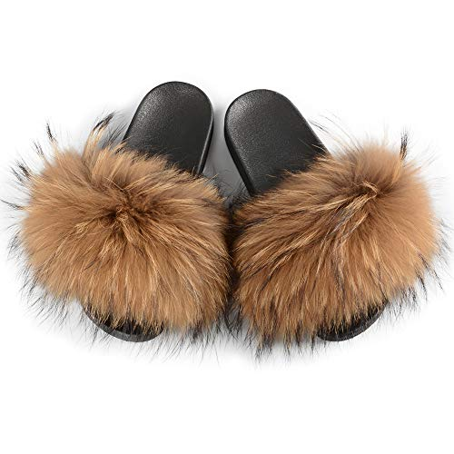 Jancoco Max Womens Luxury Real Raccon Fur Sliders Slippers Furry Slides Fashion Flat Soles Soft Summer Sandals Camel