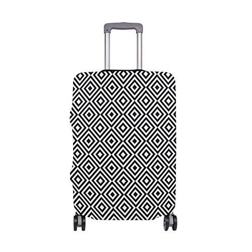 Funda cuadrada negra y blanca geométrica para maleta de viaje, de elastano, para adultos, mujeres, hombres y adolescentes, se adapta a 18-20 pulgadas