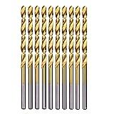 Herramientas de Cjianhua 10PCS / Set 12.5mm vuelta de hélice Brocas HSS tierra DIN338 totalmente recubierto de titanio de la carpintería de madera Métricas de perforación herramienta for metales Todo