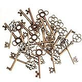 Juego de 30 colgantes de estilo antiguo mixto con diseño de esqueleto y corazón (cobre)