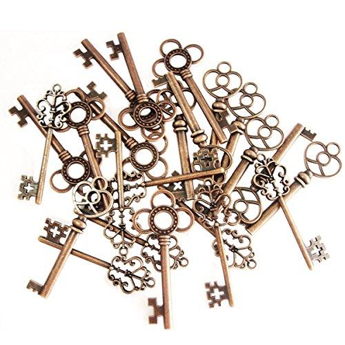 30 Stück Retro Bronze Schlüssel Anhänger Schmuck Steam Punk Deko Für Halskette Kette (Kupfer)