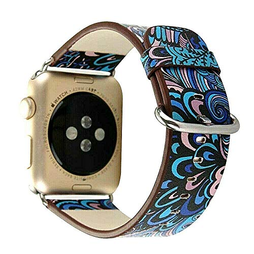 Lederarmband für Apple Watch Leder Armband 42mm 44mm Series 6 5 4 3 2 1 SE Bedruckt farbig blau schwarz Mehrfarbig