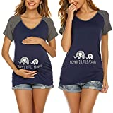 Ekouaer Funny Pregnancy T Shirts for Women Maternity Tops Sied Ruched Short Sleeve Cute Pregnancy Tee Navy Blue M