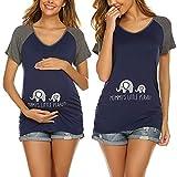 Ekouaer Casual Maternity T-Shirts for Women Funny Baseball Raglan Short Sleeve Side Ruched Pregnancy Tops Navy Blue XL