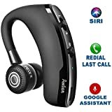 Wireless Bluetooth Earpiece V4.1, Headset with 24+ Work and Driving Hours, 220+ Standby Hours, Noise Cancelling Handsfree Supporting Android, iPhone, Siri, Google Assistant