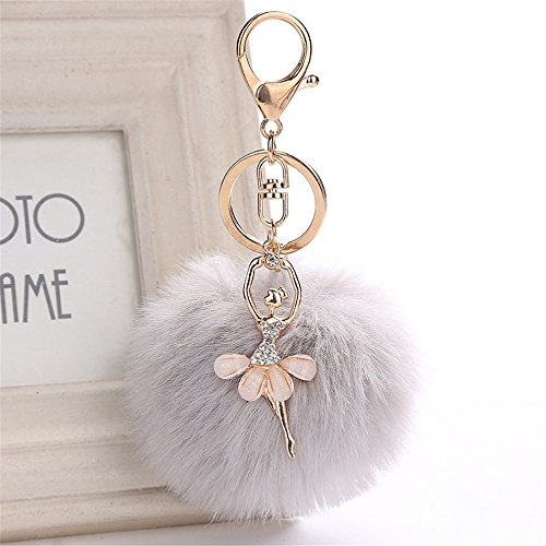 jieGorge 8CM Cute Dancing Angel Keychain Pendant Women Key Ring Holder Pompoms Key Chains, Keychains , for Christmas Day (GY)