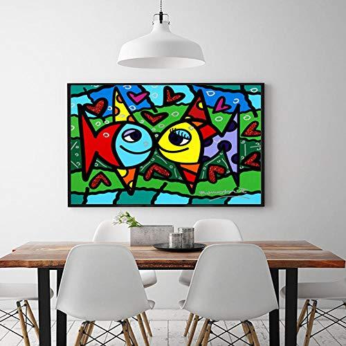 Arte Pared Pintura Impresión De La Lona Fish Love Cartoon Oil Painting Canvas Painting Cartoon Posters Modern Animal Wall Art Pictures For Living Room Sin Marco @ 60X90Cm_No_Frame_Romero_Britto