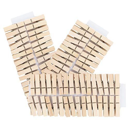 Mini-Holzklammern | 100 Stück | kleine Wäscheklammern | 3,5 cm hoch | ideal für Fotos auf Kordel-Band, Fotowand, Adventskalender, Wimpelkette, DIY Geldgeschenke, Deko für Weihnachten (natur)