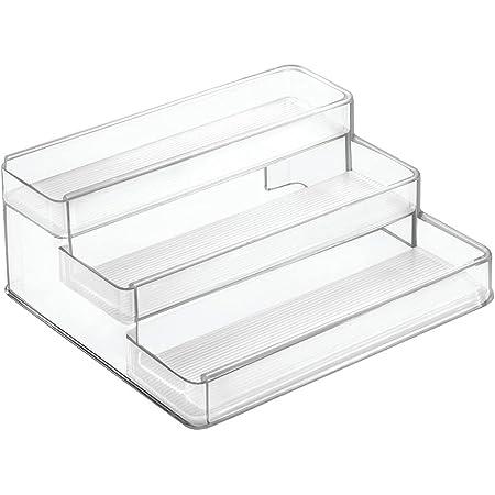 mDesign étagère à épices à 3 niveaux – range épices extensible en PVC pour placard de cuisine ou plan de travail – rangement de cuisine pour épices, condiments, aromates, etc. –transparent