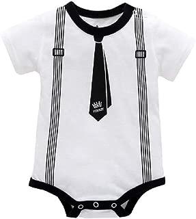 RONSHIN Infant Baby Boys Summer Casual Gentleman Style Short Sleeve Romper White 3M