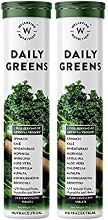 Wellbeing Nutrition Daily Greens, Wholefood Multivitamin with Vitamin C, Zinc, B6, B12 for Immunity and Detox with 39+ Org...