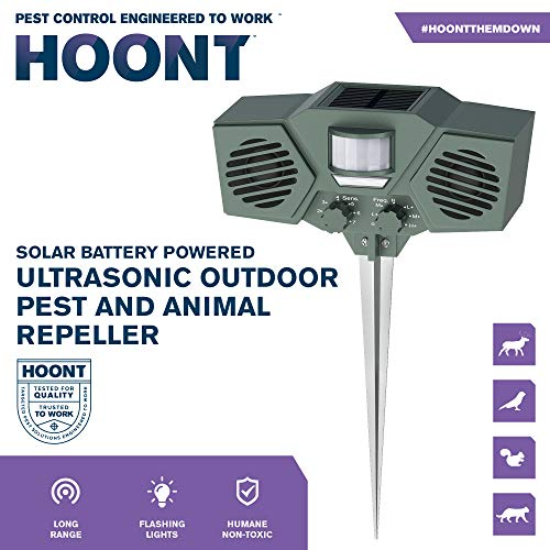 Hoont Solar Powered Motion Activated Ultrasonic with Flashing Strobe Outdoor Animal and Pest Repeller