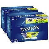 Tampax Cardboard Applicator Tampons, Multipack, Light/Regular/Super Absorbency, Unscented, 80 Count - Pack of 2 (160 Total Count)
