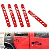 WF Door Handle Inserts 5 Pack Compatible with Jeep Wrangler, Aluminum Side Door Grab Handle Knobs Cover Trim, Decor Accessories Compatible with Jeep Wrangler JK JKU Liberty Sahara & Unlimited (Red)
