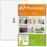 Folien-Etiketten 210 x 297 mm glasklar transparent auf DIN A4 Bogen - 1 Etikett pro Seite - 10 Polyester Folienetiketten klar, selbstklebend mit Laser Drucker bedruckbar, wetterfest