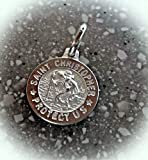 Bright Sterling Silver 12mm Baby Saint St Christopher Medal Charm Vintage Crafting Pendant Jewelry Making Supplies - DIY for Necklace Bracelet Accessories by CharmingSS