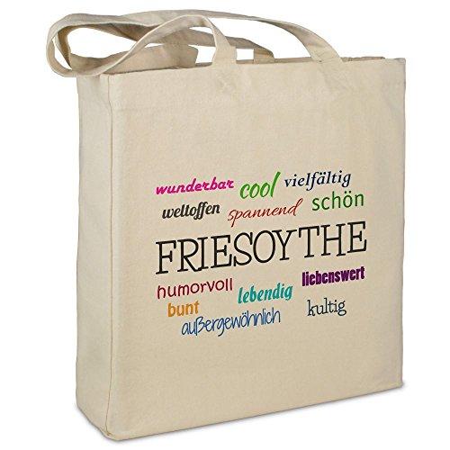 Stofftasche mit Stadt/Ort 'Friesoythe ' - Motiv Positive Eigenschaften - Farbe beige - Stoffbeutel, Jutebeutel,...
