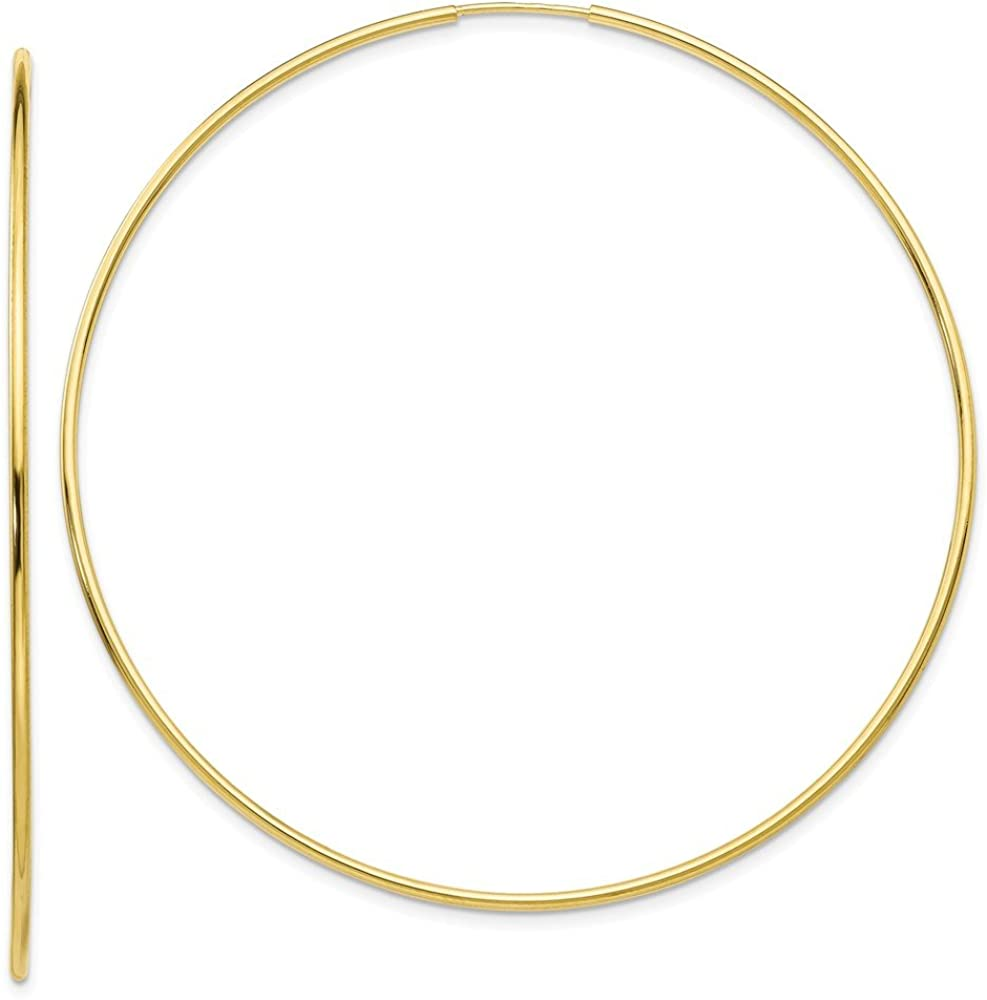 10K Yellow Gold Polished 64mm Endless Tube Hoop Earrings