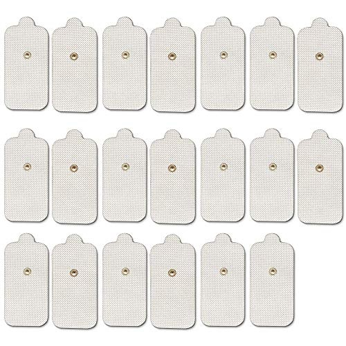 Pack-20 (10 Pairs) TENS Unit Replacement Electrode Pads - 2'x 4' Large Rectangular Snap on 3.5mm Self-adhesive Reusable Electrodes Pads for Hidow Palm TENS/EMS Massagers