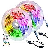 Ruban LED, Hoteril Bande LED 6M [2*3M] 5050 RGB Etanche avec Télécommande , Bandeau Lumineux 16 Couleurs et 4 Modes, Luminosité/Vitesse Réglable pour Maison, Chambre, Cuisine, Bar, Mariage, Fête, etc.
