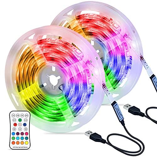 Tiras LED 6M ,Hoteril Tira LED RGB USB Impermeable con Control Remoto, 4 Modos de Brillo y 16 Colores, Tira LED Regulable para Habitacion, Hogar, Cocina, Bar, Fiesta, Boda, Restaurante (2 * 3M)