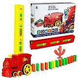 TsingBolo Kids Domino Train Toys Set,160 Pcs Domino Blocks,Automatic Domino Game,Domino Construction Vehicle Set,Creative Stacking Educational Toys for Boys and Girls Age 3-7