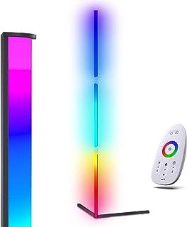 RGB Lampadaire LED, 20W Salon sur Pied D'angle Lampe Couleurs Réglable, Lampe Salon avec télécommande, lampadaire Led sur ...