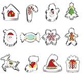 HIQE-FL Cookie Cutters Set,Cookie Cutters Christmas,Cortar Galletas,Navidad Galletas,Moldes de Galletas, Acero Inoxidable(20pcs)