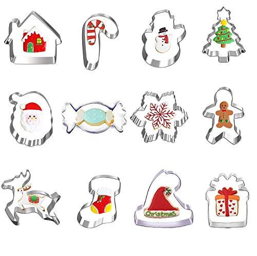 HIQE-FL Acciaio Inox Animali Stampi Biscotti,Tagliabiscotti Natale Grandi,Taglierina del Biscotto di Natale,Formine Biscotti a Cuore,Formine per Biscotti