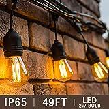 BRTLX S14 Guirlande Exterieur Guinguette, IP65 Etanche,15M Guirlandes Lumineuses avec 15 LED...