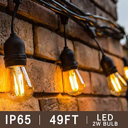 BRTLX S14 LED Lichterkette Glühbirne Aussen Retro, IP65 Wasserdicht,15M Lichterkette Garten mit 15er 2W LED Birnen E27 Warmweiß für Hochzeit Party Weihnachten Café [Energieklasse A+]