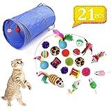 🐱 😸 [Le paquet contient]---1 différents ensembles de jouets pour chats avec tunnel pour chats, souris jouets pour chats, balles, plumes, etc. 🐱 😸 [Sécurité]---Chaque jouet est en bois naturel, en sisal, en matériau élastique et en plumes. Il est gara...