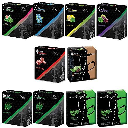 Hydro Herbal, Hookah Shisha Flavors, Tobacco & Nicotine Free, Mint Lovers Variety Pack, 50-Gram (Pack of 10)