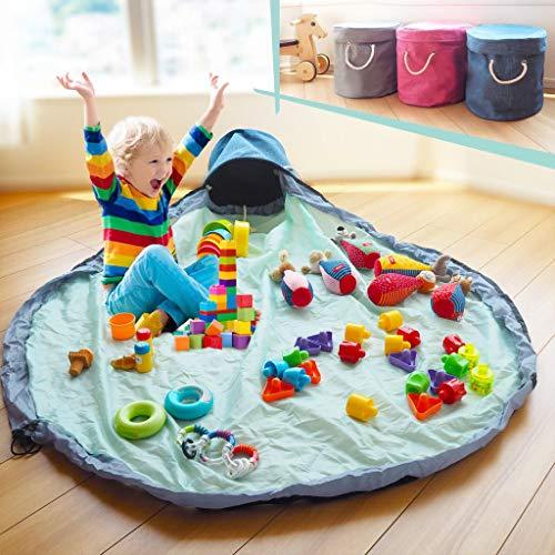 (PIPIPI)おもちゃ収納バッグ プレゼントにも 収納ボックス ふた付き 玩具 収納ケース 大容量 おもちゃ箱 プレイマット(デニム×ミントグリーン)