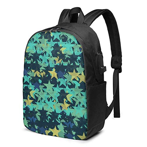 Blue Star Busin Laptop School Bookbag Travel Bapack with USB Charging Port & Headphone Port Fit 17 in