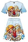 Enhopty Piece Monkey D. Jersey Bare Midriffe Camiseta Rock Set Cosplay Disfraz Azul Mujer XXL