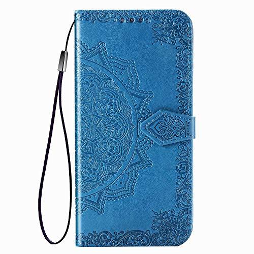 Fertuo Hülle für Redmi 9A, Handyhülle Leder Flip Hülle Tasche mit Kartenfach, Magnet & Standfunktion [Mandala Muster] Handy Schutzhülle Ledertasche für Xiaomi Redmi 9A, Blau